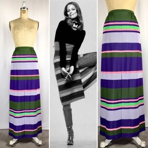 60's Vertical Stripe Polyester Mod Hostess Maxi XS
